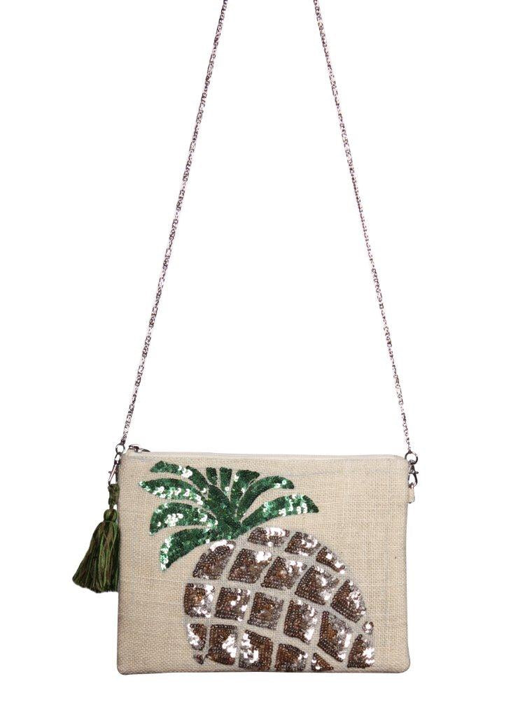 Frosted Pineapple Jute Crossbody Clutch