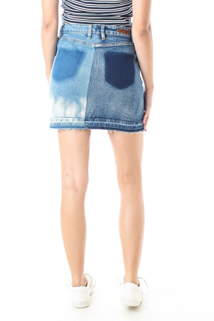 Color Block Denim Skirt