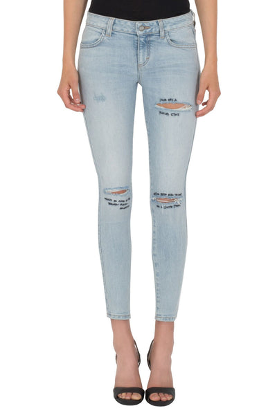 TEXT EMBROIDERED RIPPED JEANS