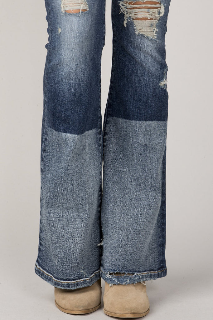 RIPPED TWO-TONE FLAIR JEANS