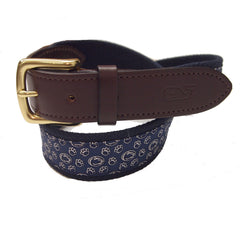 Vineyard Vines PSU Navy Belt with a Brass Buckle
