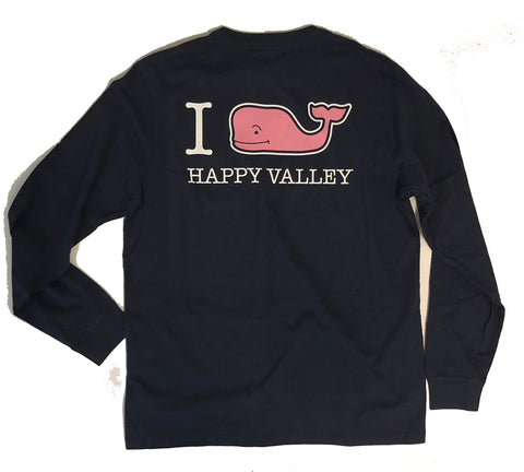 Vineyard Vines I WHALEY Love Happy Valley Long Sleeved T-Shirt Navy