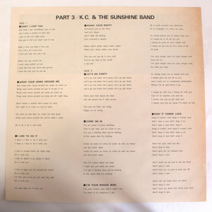 KC And The Sunshine Band ‎– Part 3 - LP - 12 inch Vinyl