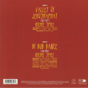 Richie Spice - Valley Of Jehoshaphat (Red Hot) / Richie Spice - Di Dub Dance (Dub Mix) (VP) - 7inch Vinyl