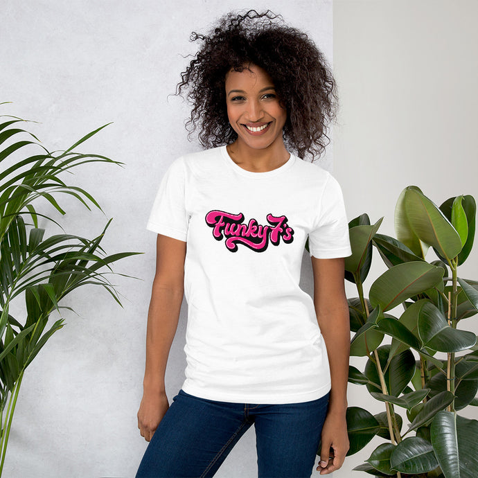 Funky 7's - Hot Pink - Short-Sleeve Unisex T-Shirt