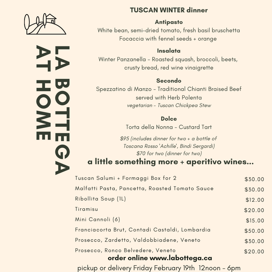 February 19 - La BOTTEGA at Home Dinner for Two - TUSCANY + historical winery