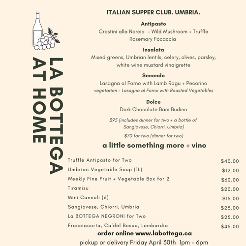Friday April 30th - REGIONAL SUPPER CLUB: A Country House in UMBRIA - Dinner for 2