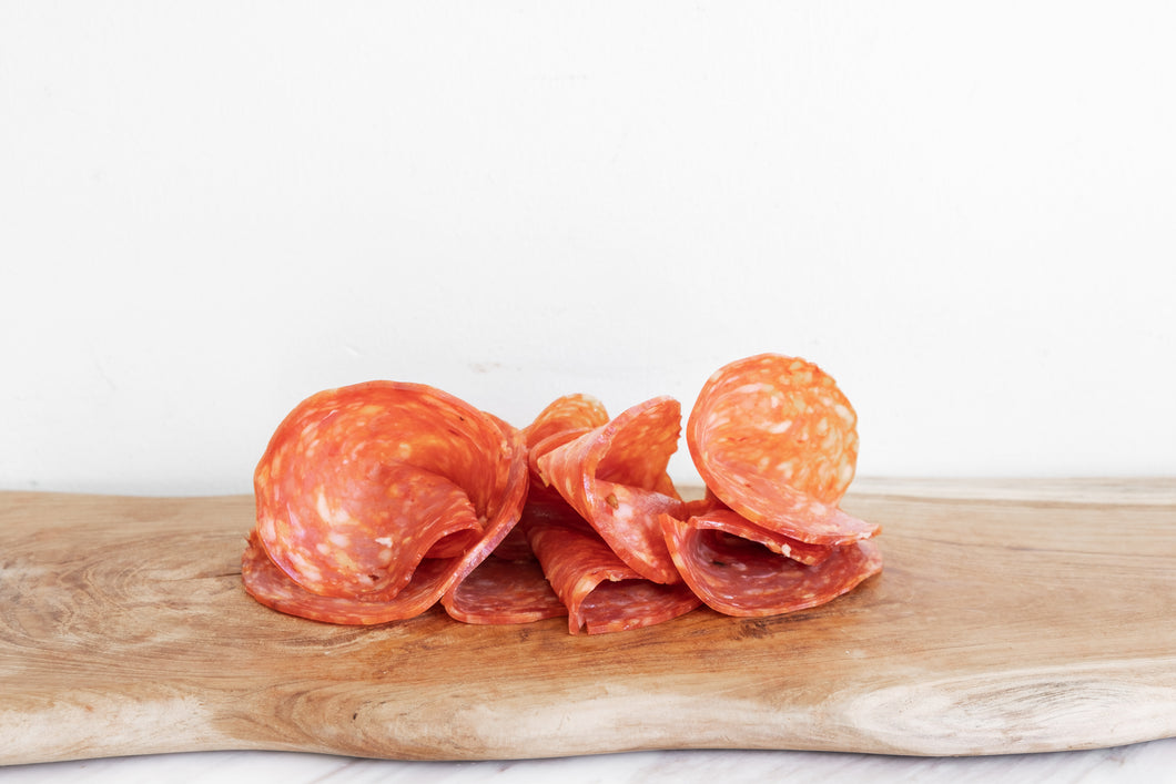 Hot Genoa Salami - deli sliced (per 100g)
