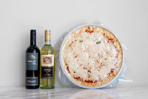 Margherita Pizza - Ready to Bake with Choice of House Red or House White Wine