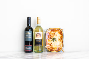 Meat Lasagna (serves 2) with Choice of House Red or House White Wine