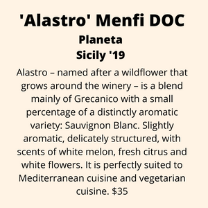 ADD ON: Bottle of Alastro Menfi (Grecanico/Sauvignon Blanc), Planeta