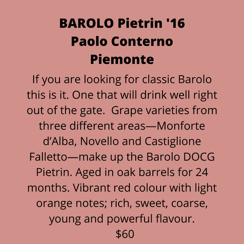ADD ON: Bottle of Franco Conterno Barolo Pietrin