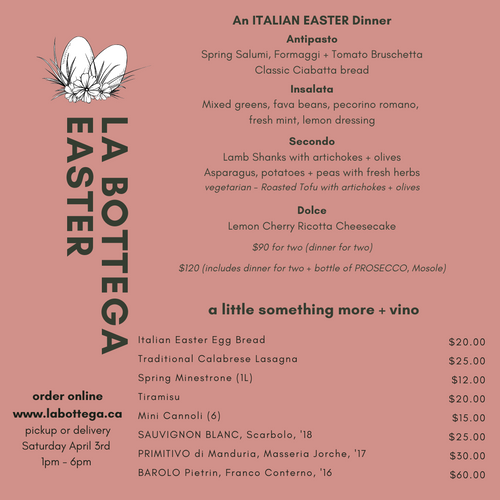 Saturday April 3rd - An ITALIAN EASTER Feast for 2