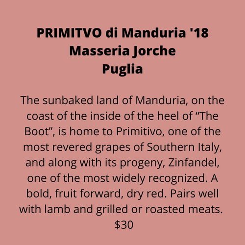 ADD ON: Bottle of Masseria Jorche Primitivo