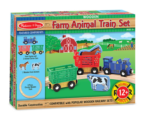 Melissa & Doug Wooden Farm Animal Train Set