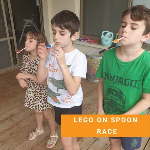 Lego party Games - Lego on Spoon Race