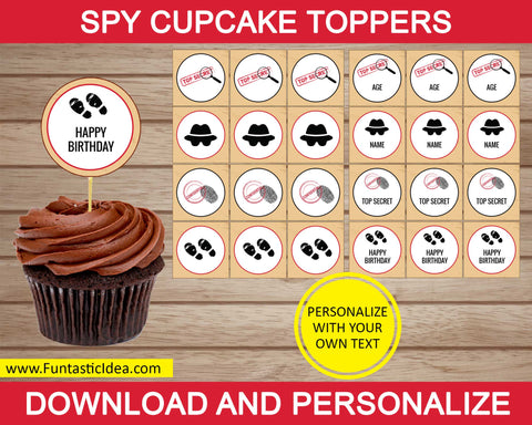 Spy party cupcake toppers