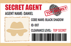 top secret secret agent id badge