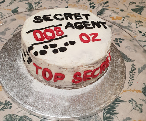 spy birthday party cake