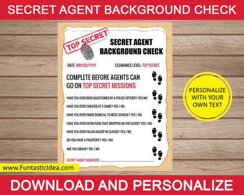 Spy / Secret Agent Background Check