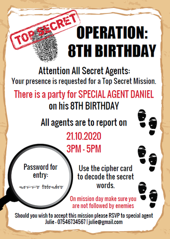 spy party invitation