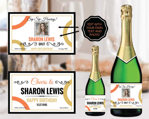 Personalized Birthday Party Champagne Labels
