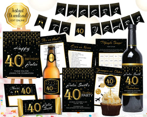 40th Birthday Invitation and Decorations