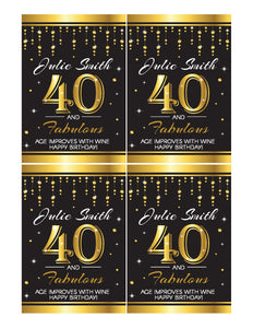 40th Birthday Wine Labels Printables