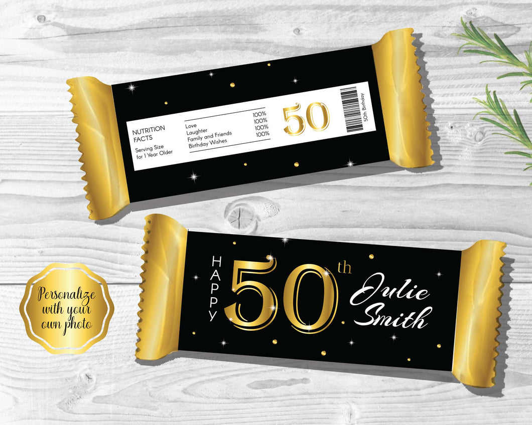 50th Birthday Candy Bar Wrappers