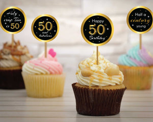 50th Birthday Cupcake Toppers