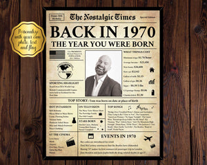 50th Birthday Newspaper Poster Gift | Back in 1970
