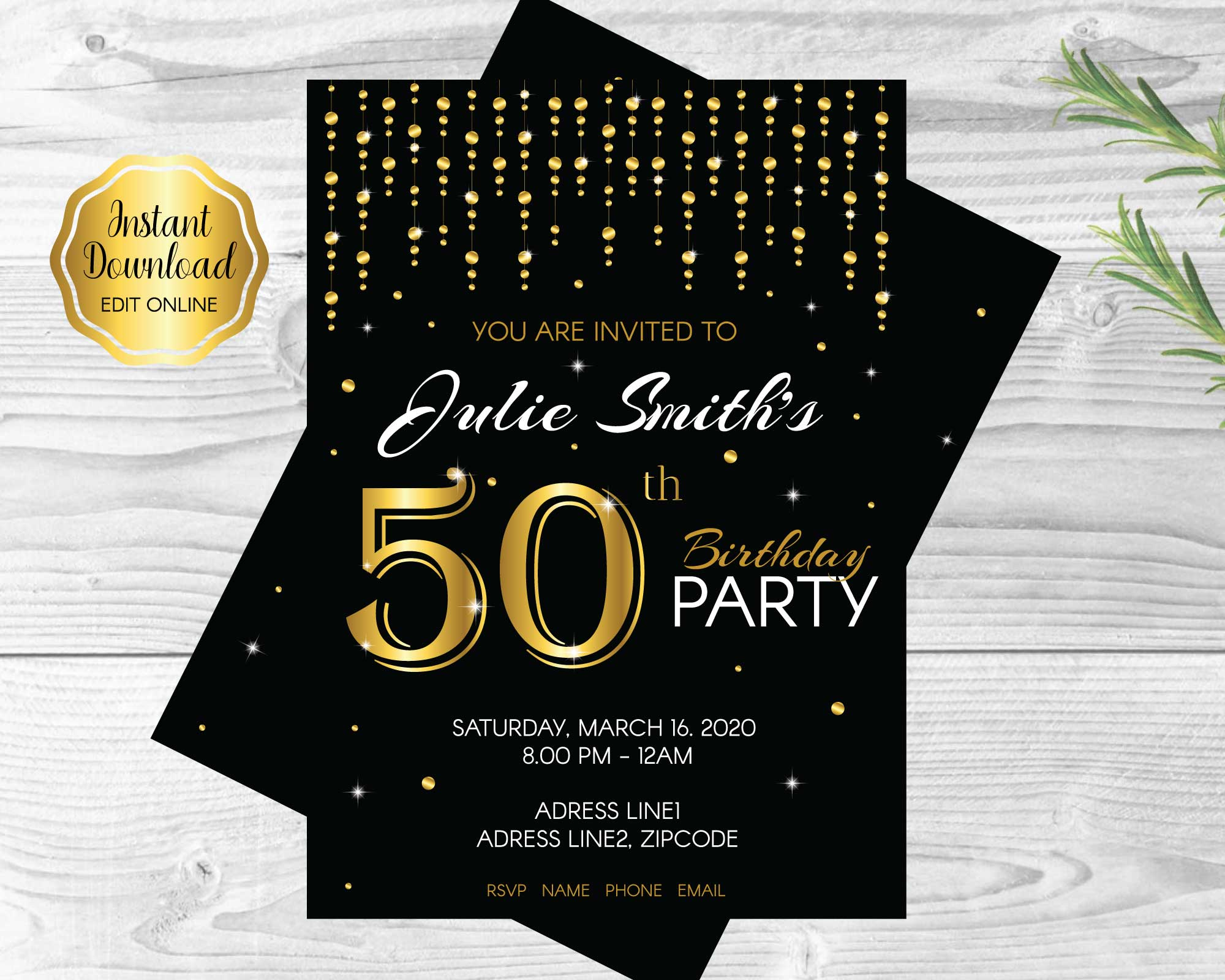 50th Birthday Party Decorations and Invitation – Funtastic Idea
