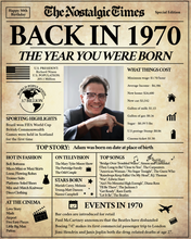 Load image into Gallery viewer, Birthday Newspaper Poster Sign | Back in 1970 | Fully Editable