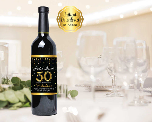 50th Birthday Wine Labels