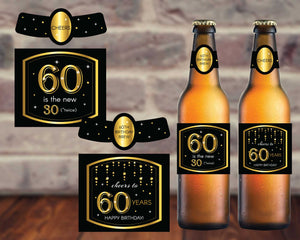 60th Birthday Beer Labels