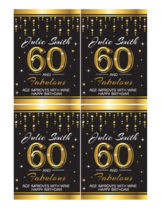 60th Birthday Wine Labels