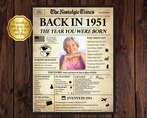 70th Birthday Newspaper Poster Sign | Back in 1951 | Fully Editable