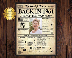 60th Birthday Newspaper Poster Sign | Back in 1961 | Fully Editable