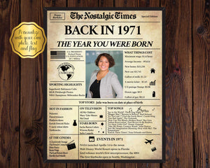 50th birthday poster | Back in 1971 Newspaper Poster Gift