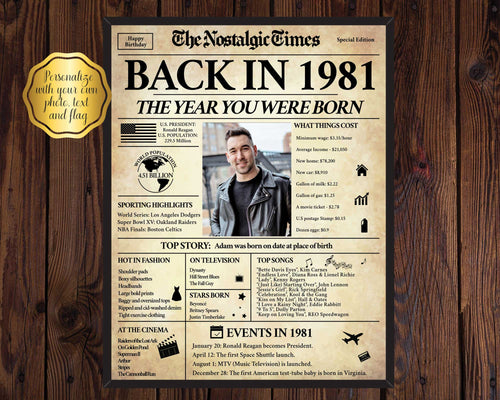 40th Birthday Poster | Back in 1981 | Newspaper Poster Gift