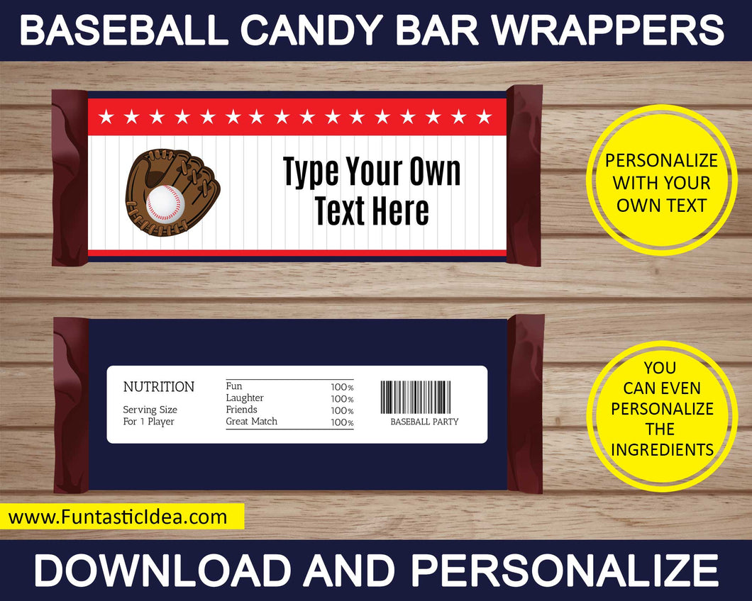 Baseball Party Candy Bar Wrappers