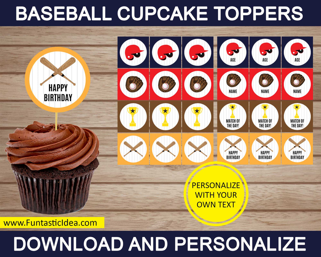 Baseball Party Cupcake Toppers