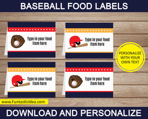 Baseball Party Food Labels