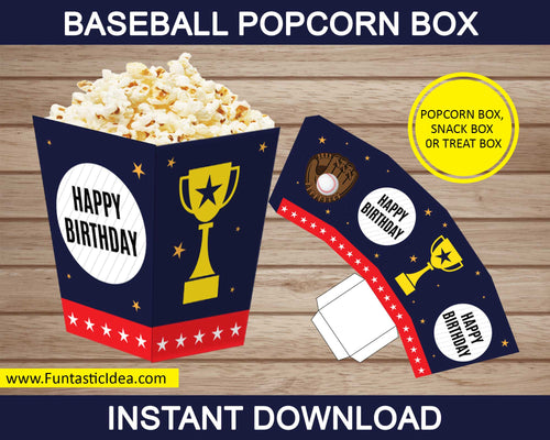 Baseball Party Popcorn Box