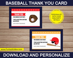 Baseball Party Thank You Card