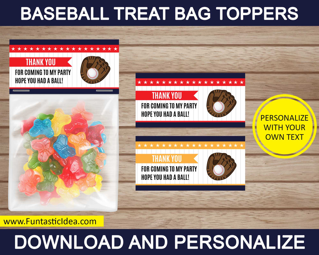 Baseball Party Treat Bag Toppers