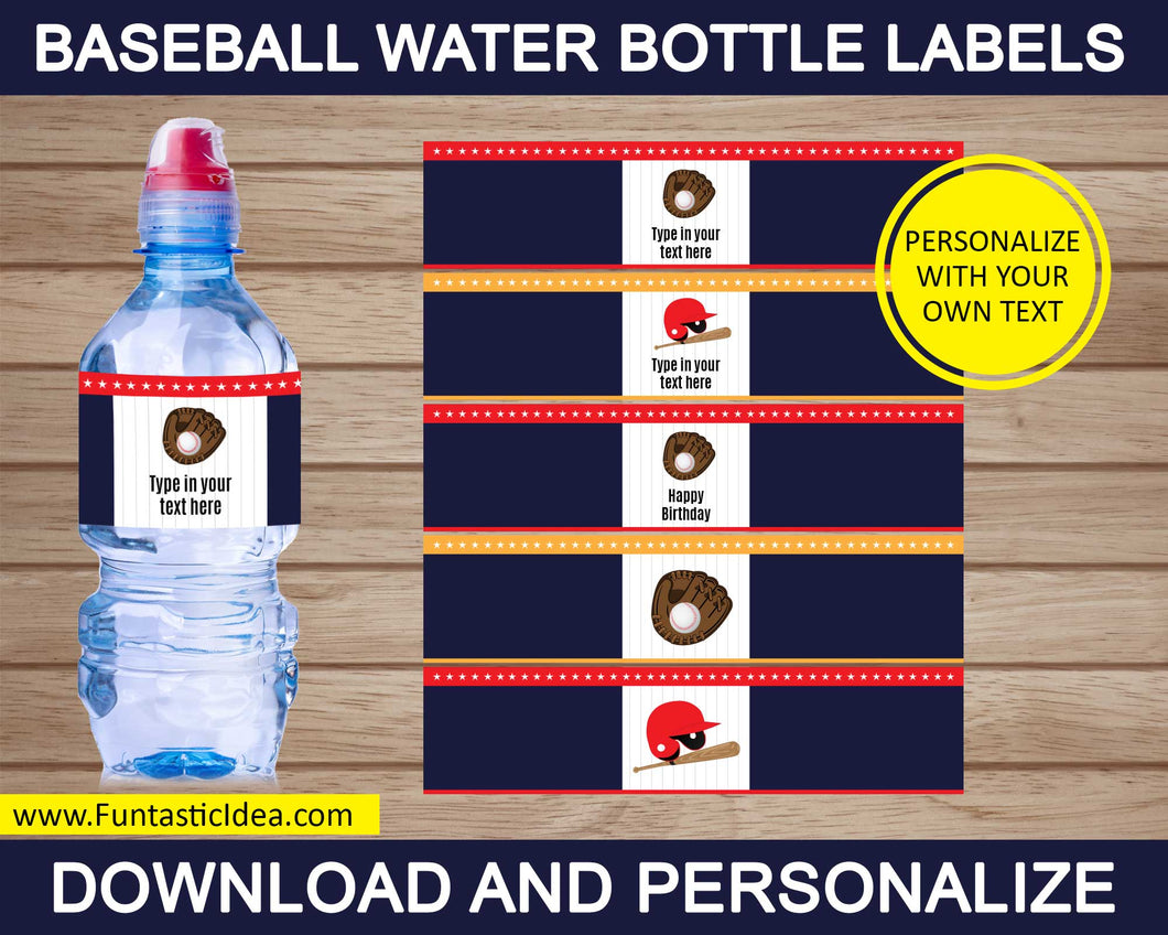 Baseball Party Water Bottle Labels