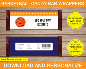Basketball Party Candy Bar Wrappers