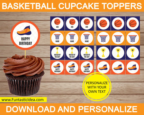 Basketball Party Cupcake Toppers