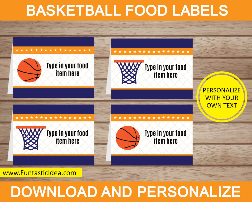 Basketball Party Food Labels